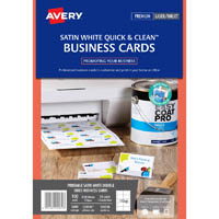 AVERY 936230 C32026 QUICK CLEAN SATIN WHITE COLOUR LASER DOUBLE SIDED BUSINESS CARD PACK 100