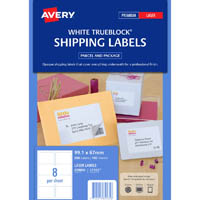 AVERY 959006 L7165 LASER LABELS PARCEL 8UP WHITE PACK 100
