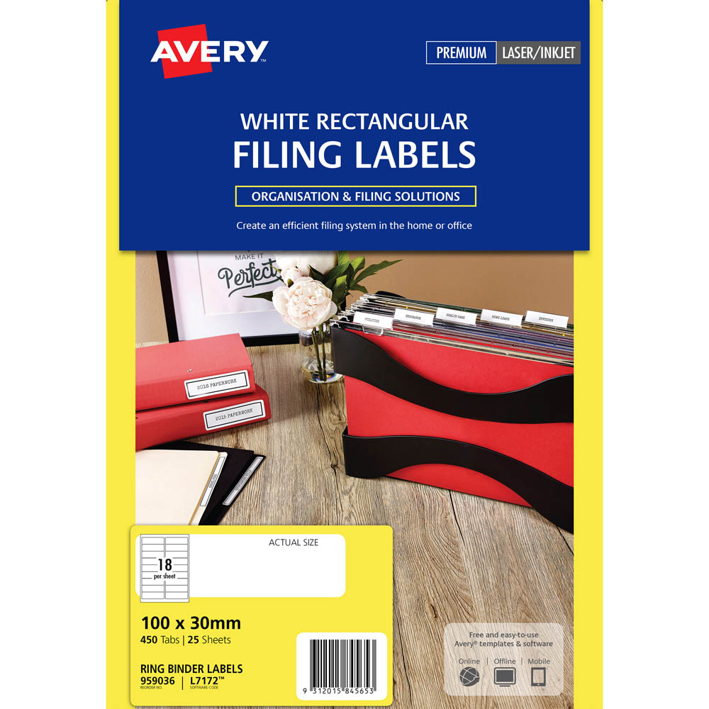 avery 959036 l7172 laser label ring binder 18up white pack 25 rba