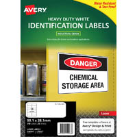 AVERY 959063 L7063 HEAVY DUTY LASER LABELS WHITE 14UP PACK 25