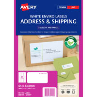 AVERY 959122 L7159EV ENVIRO ADDRESS LABEL LASER 24UP WHITE PACK 100