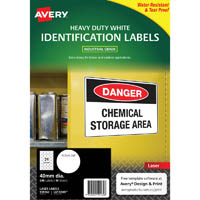 AVERY 959162 L6112HD MULTI-PURPOSE LABELS 40MM ROUND HEAVY DUTY WHITE PACK 240