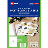 AVERY 959769 L7769 PHOTO QUALITY MULTI-PURPOSE LABEL LASER 4UP GLOSS WHITE PACK 25