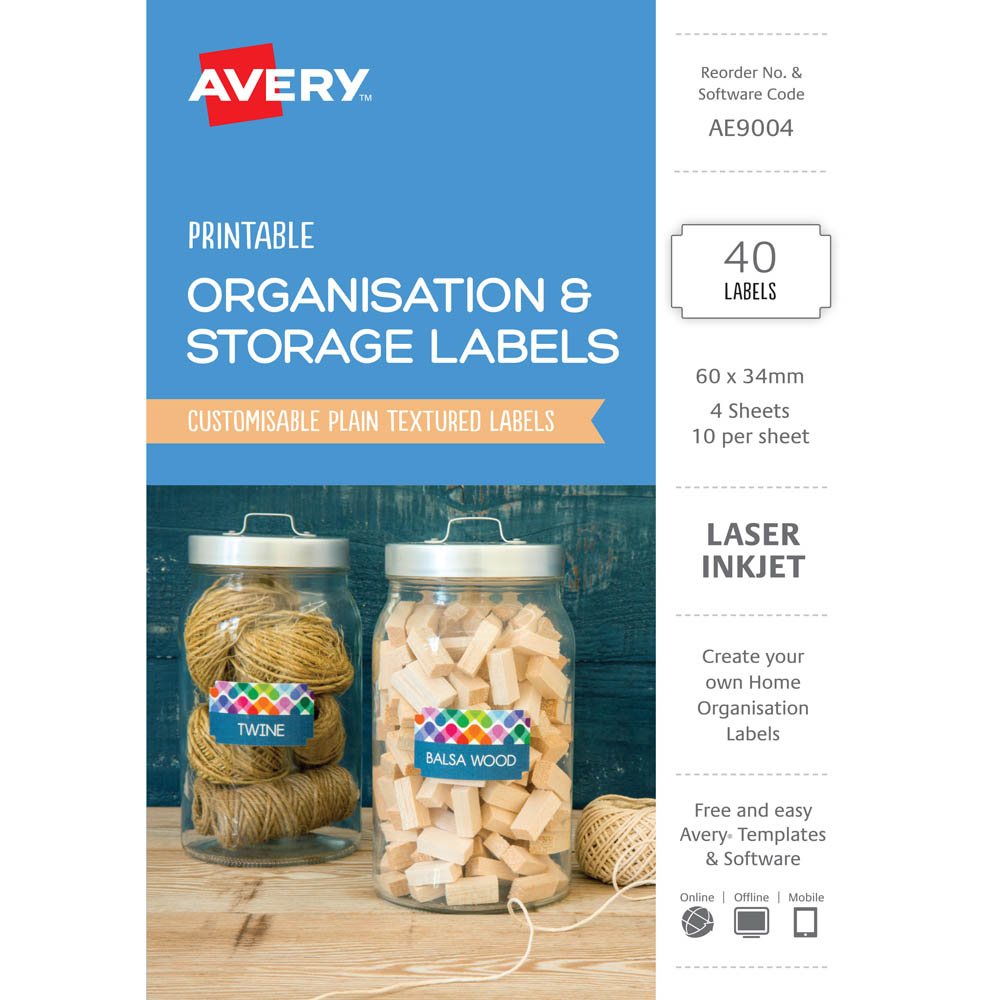 avery ae9004 ae9004 printable organisation and storage labels 66 x