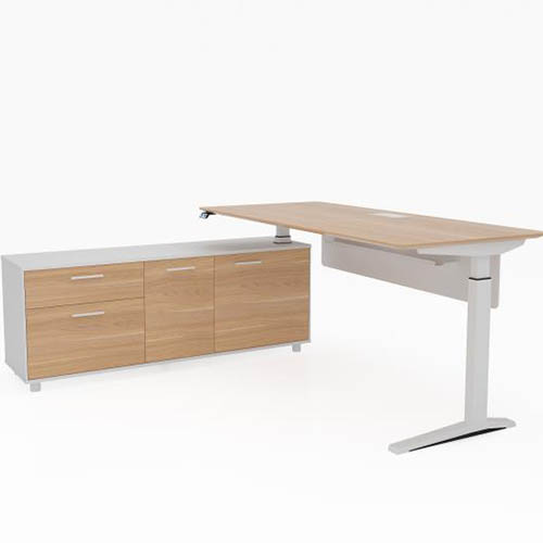 Image For POTENZA EXECUTIVE ELECTRIC HEIGHT ADJUSTABLE DESK WITH LEFT HAND  SIDE BUFFET 2000 X 1820MM