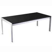 RAPID GLASS COFFEE TABLE BLACK GLASS CHROME FRAME 1200 X 600MM