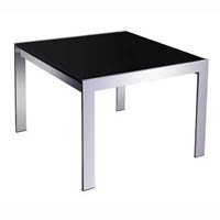 RAPID COFFEE TABLE BLACK GLASS CHROME FRAME 600 X 600MM