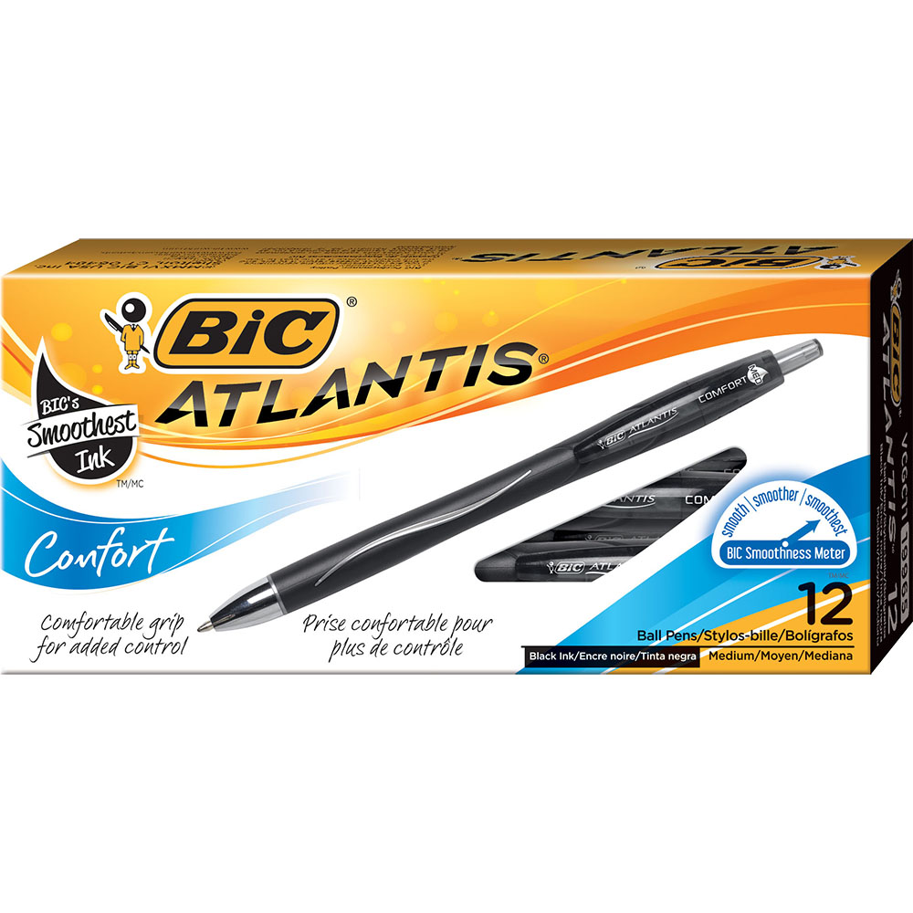 BIC ATLANTIS COMFORT RETRACTABLE BALLPOINT PEN BLACK BOX 12