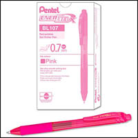 PENTEL ENERGEL-X GEL INK PEN BL107 RETRACTABLE MEDIUM 0.7MM PINK