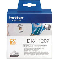 BROTHER DK-11207 FILM LABEL ROLL CD/DVD ROUND 58MM WHITE ROLL 100