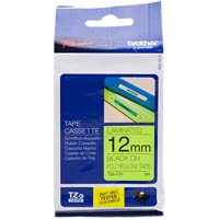 BROTHER TZE-C31 LAMINATED LABELLING TAPE 12MM BLACK ON FLURO YELLOW