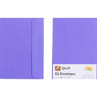 QUILL C6 COLOURED ENVELOPES PLAINFACE STRIP SEAL 80GSM 114 X 162MM LILAC PACK 25