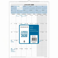 DEBDEN 2020 12 MONTH WIRO CALENDAR MONTH TO VIEW 300 X 432MM