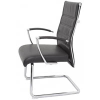 RAPIDLINE EXECUTIVE VISITORS CHAIR WITH CHROME ARMS AND BASE PU BLACK