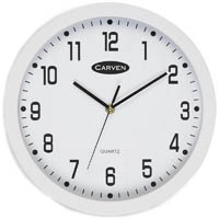 CARVEN WALL CLOCK 300MM WHITE FRAME