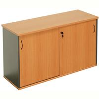 RAPID WORKER SLIDING DOOR CREDENZA 1500 X 450MM BEECH/IRONSTONE