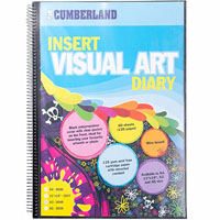 CUMBERLAND VISUAL ART DIARY WITH INSERT COVER SINGLE SPIRAL A3 BLACK
