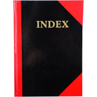 BLACK AND RED NOTEBOOK CASEBOUND RULED A-Z INDEX GLOSS COVER 100 LEAF A5