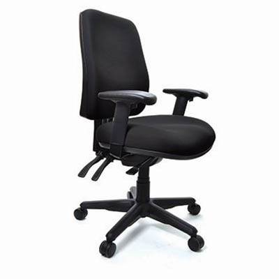 Image for BURO ROMA 3 LEVER HIGH BACK CHAIR WITH ARMS JETT BLACK from Angleton's Office Products Depot