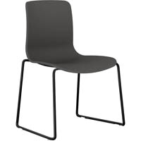 DAL ACTI SLED BASE CHAIR BLACK POWDERCOAT FRAME WITH CHARCOAL SHELL
