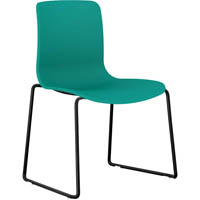 DAL ACTI SLED BASE CHAIR BLACK POWDERCOAT FRAME WITH TEAL SHELL