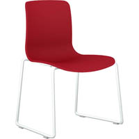 DAL ACTI SLED BASE CHAIR WHITE POWDERCOAT FRAME WITH RED SHELL