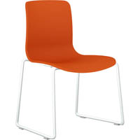 DAL ACTI SLED BASE CHAIR WHITE POWDERCOAT FRAME WITH ORANGE SHELL
