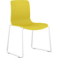 DAL ACTI SLED BASE CHAIR WHITE POWDERCOAT FRAME WITH YELLOW SHELL