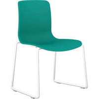 DAL ACTI SLED BASE CHAIR WHITE POWDERCOAT FRAME WITH TEAL SHELL