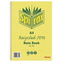 SPIRAX 810 NOTEBOOK 7MM RULED 70% RECYCLED CARDBOARD COVER SPIRAL BOUND A4 120 PAGE