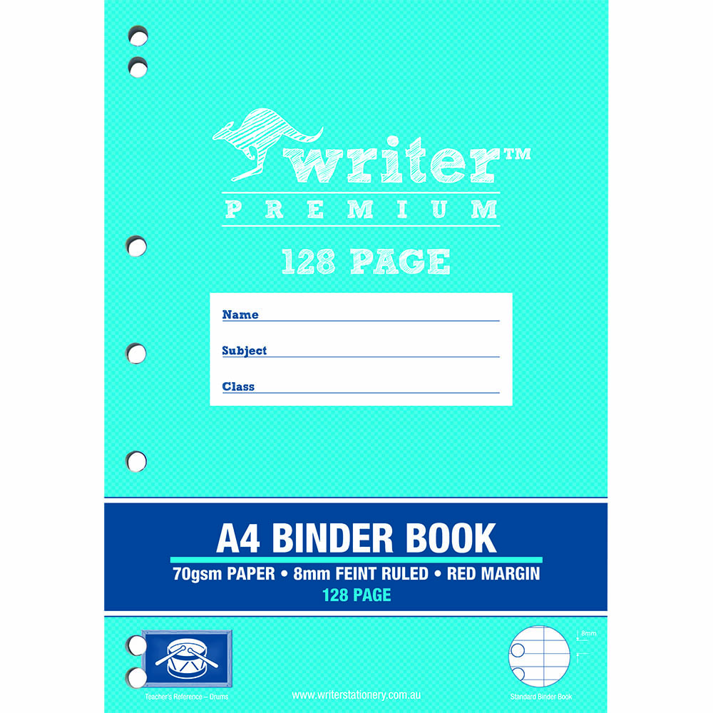 writer premium binder book 8mm feint ruled 128 page a4 holiday