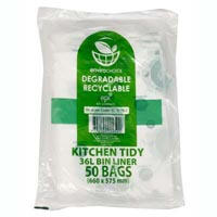ENVIROCHOICE DEGRADEABLE BIN LINER HIGH DENSITY 36 LITRE CLEAR PACK 50