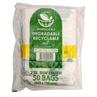 ENVIROCHOICE DEGRADEABLE BIN LINER LOW DENSITY 75 LITRE CLEAR PACK 50