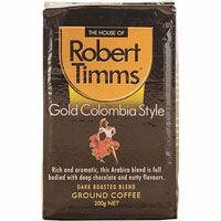 ROBERT TIMMS GOLD COLUMBIA GROUND COFFEE 200G