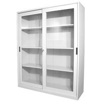 STEELCO GLASS SLIDING DOOR CUPBOARD 3 SHELVES 1830 X 1500 X 465MM WHITE SATIN