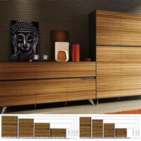 NOVARA CREDENZA 4 DOOR 1224 X 425 X 1250MM ZEBRANO TIMBER VENEER