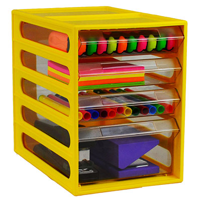 ITALPLAST 4 DRAWER OFFICE ORGANISER CABINET BANANA