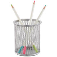 ITALPLAST WIRE MESH PEN / PENCIL CUP SILVER