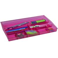 ITALPLAST DRAWER TIDY 8 COMPARTMENT TINTED PINK