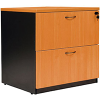 OXLEY LATERAL FILE CABINET LOCKABLE 780 X 560 X 750MM BEECH/IRONSTONE
