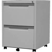 STEELCO MOBILE PEDESTAL 2 FILE SILVER GREY
