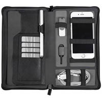 MODENA RE-CHARGE TRAVEL WALLET W/ZIPPER AND WRIST STRAP BLACK