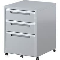 STEELCO MOBILE PEDESTAL 2 DRAWER 1 FILE 630 X 470 X 515MM SILVER GREY