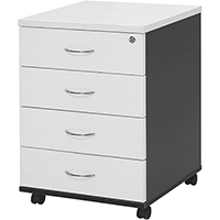 OXLEY MP4 MOBILE PEDESTAL 4 DRAWER LOCKABLE 25MM TOP/SIDE WHITE/IRONSTONE