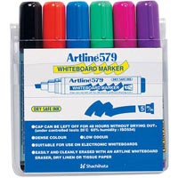 ARTLINE 579 DRY SAFE WHITEBOARD MARKERS CHISEL 5.0MM WALLET 6