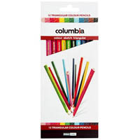 COLUMBIA COLOURSKETCH TRIANGULAR PENCIL ASSORTED PACK 12