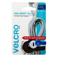 VELCRO BRAND BRAND REUSABLE TIES ASSORTED COLOURS AND SIZES PACK 3