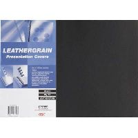 GBC IBICO BINDING COVER LEATHERGRAIN A3 300GSM BLACK PACK 25