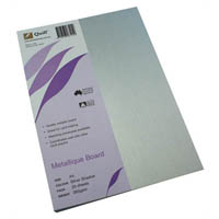 QUILL METALLIQUE BOARD 285GSM A4 SILVER SHADOW PACK 25