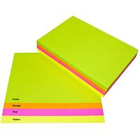 QUILL COLOURED A4 COPY PAPER 80GSM FLUORO ASSORTED PACK 500 SHEETS